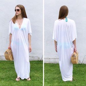 RILLER & FOUNT Luca Caftan Maxi Dress White NWOT